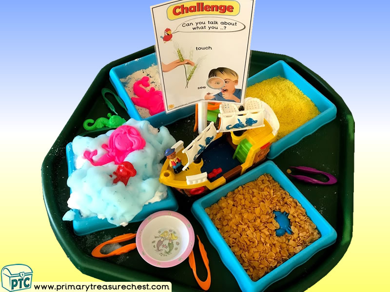 Pirates - Pirate Ship - Treasure - Mermaids - Themed Discovery Multi-sensory - Cereals Tuff Tray Ideas and Activities