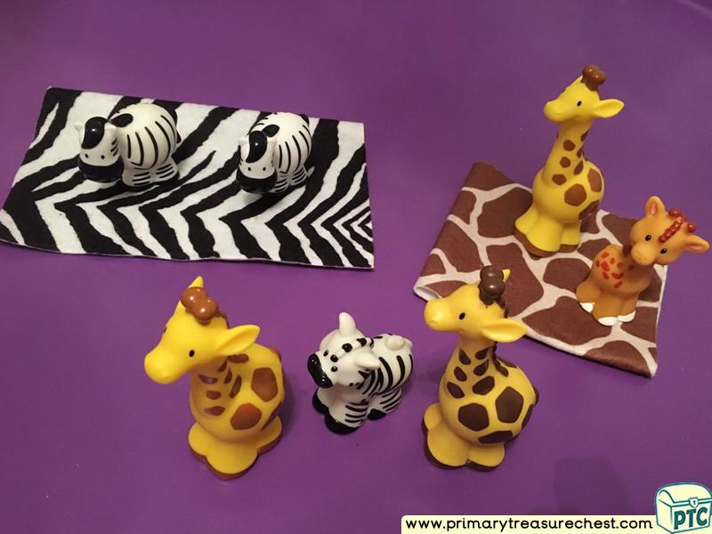 Safari - Jungle Animal Patterns Themed Discovery Multi-sensory Tuff Tray Ideas and Activities