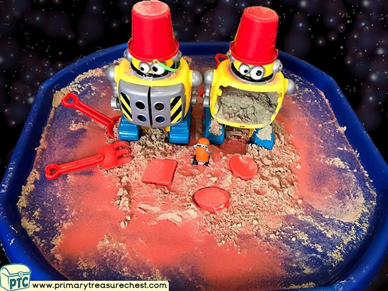 Space - Robot - Aliens - Mars Themed Sand Multi-sensory Tuff Tray Ideas and Activities