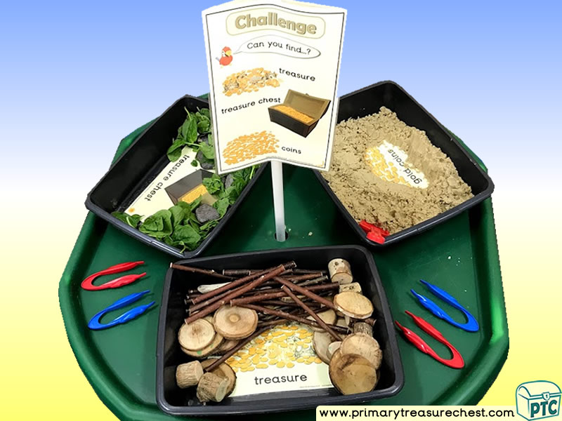 Pirates - Pirate Ship - Treasure Themed Discovery Multi-sensory - Natural Tuff Tray Ideas and Activities