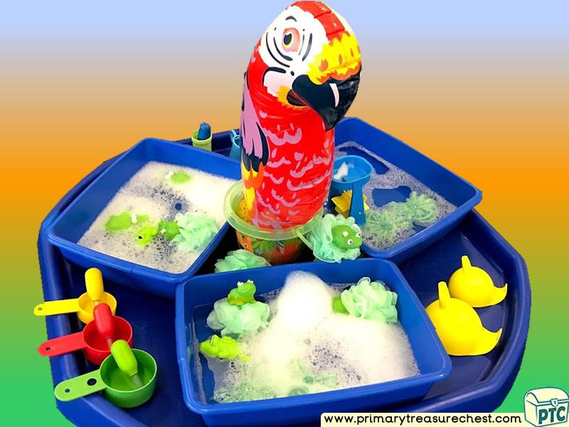 Safari - Jungle Animal - Parrot Themed Water Play Multi-sensory Tuff Tray Ideas and Activities