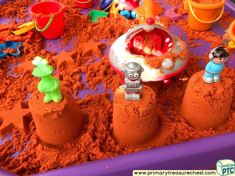 Space - Robot - Alien Themed Coloured Sand Multi-sensory Tuff Tray Ideas and Activities