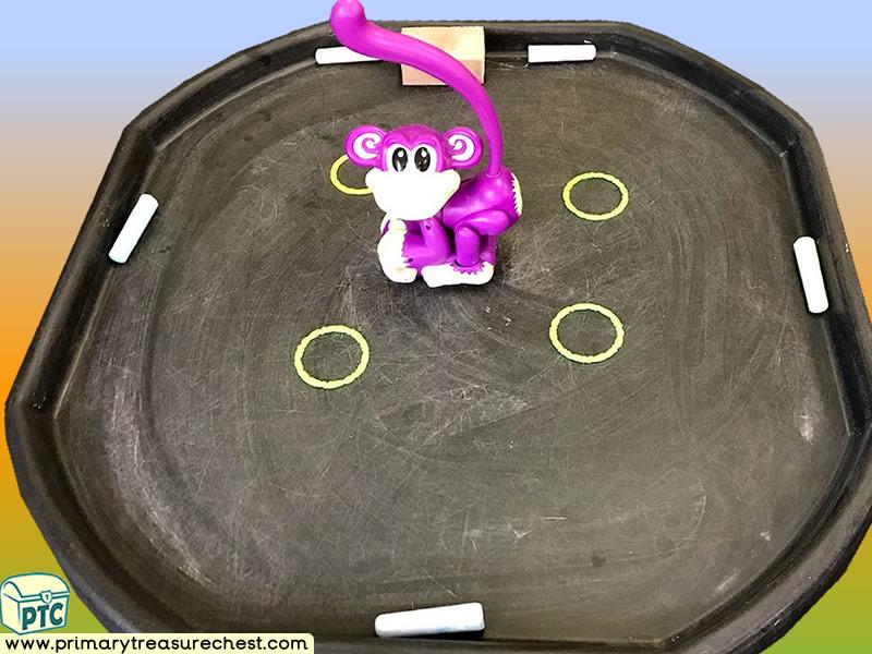 Safari - Jungle Animal - Monkey Themed Mark Making Pre-Writing Patterns Letter Formation Multi-sensory Tuff Tray Ideas and Activities