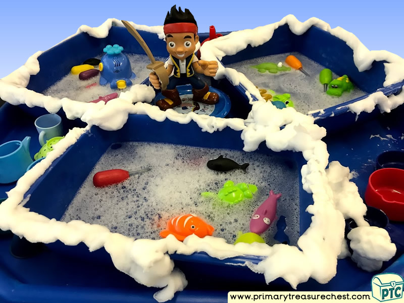 Pirates - Under the Sea - Jake Themed Water Multi-sensory - Mouldable Soap Tuff Tray Ideas and Activities