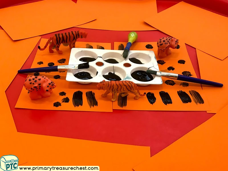 Jungle Animal - Safari Themed Mark Making Pre-Writing Patterns Letter Formation Multi-sensory Poster Paints Tuff Tray Ideas and Activities