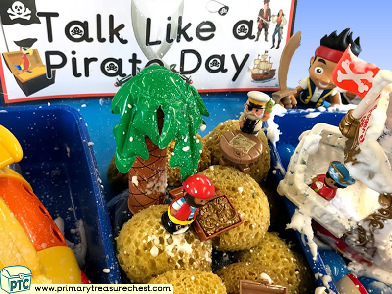 Pirates - Pirate Ship - Pirate Island - Talk Like a Pirate Day Themed Water Multi-sensory - Mouldable Soap Tuff Tray Ideas and Activities