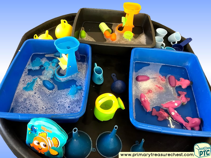 Pirates - Under the Sea - Colour Sorting Themed Water Multi-sensory - Sponges Tuff Tray Ideas and Activities