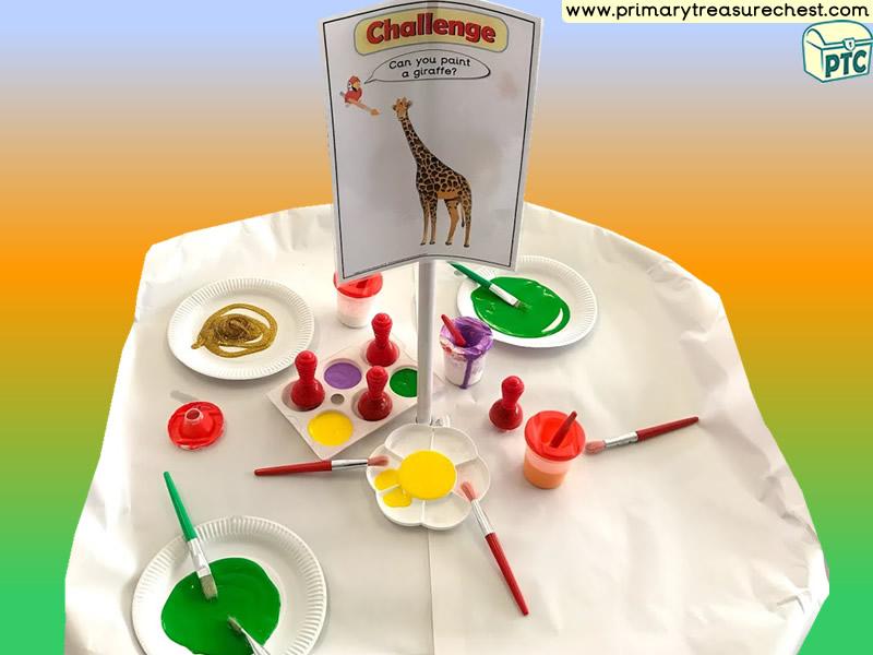 Jungle Animal - Safari - Giraffe Themed Mark Making Pre-Writing Patterns Letter Formation Multi-sensory Poster Paints Tuff Tray Ideas and Activities