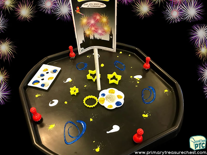 New Year - New Years Eve - Fireworks - Celebrations Themed - Creative - Multi-sensory - Poster Paints Tuff Tray Ideas and Activities