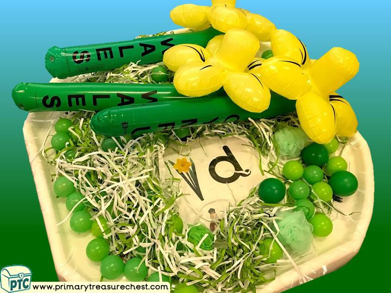 Wales - Saint David's Day - Dydd Santes Dwynwen - Daffodils Themed Phonics - Letter Sound Multi-sensory - Shredded Paper Tray Ideas Activities