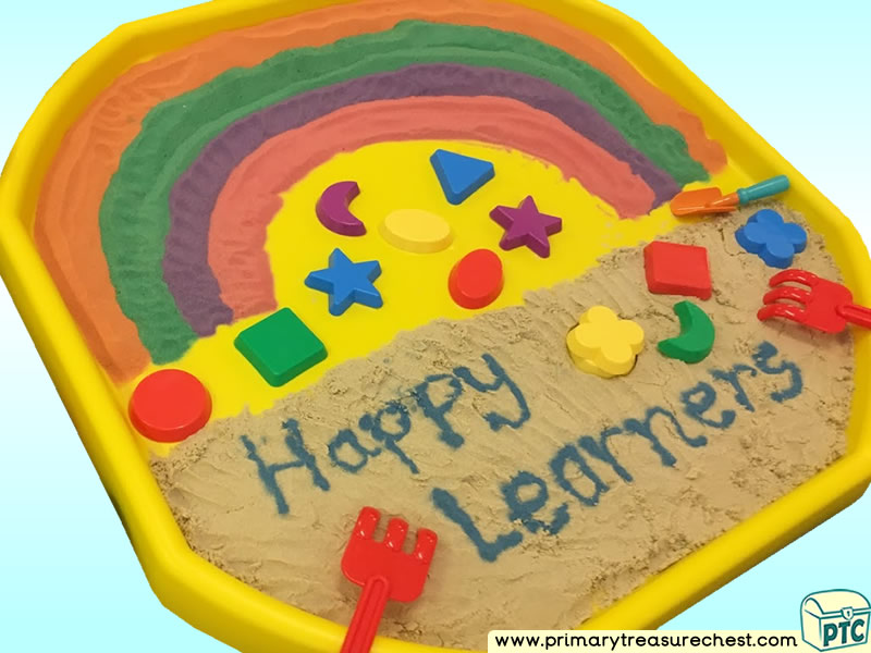 Colours – Colour Sorting – Colour Recognition - Rainbow - Shapes Themed Numbers - Multi-sensory - Coloured Sand Tuff Tray Ideas and Activities