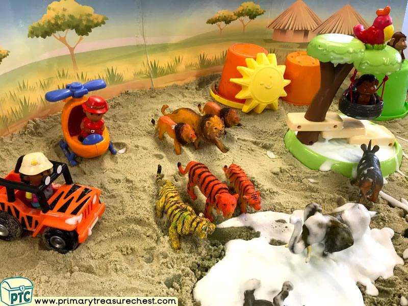 Safari - Jungle Animal Themed Small World Multi-sensory - Sand - Mouldable Soap Tuff Tray Ideas and Activities