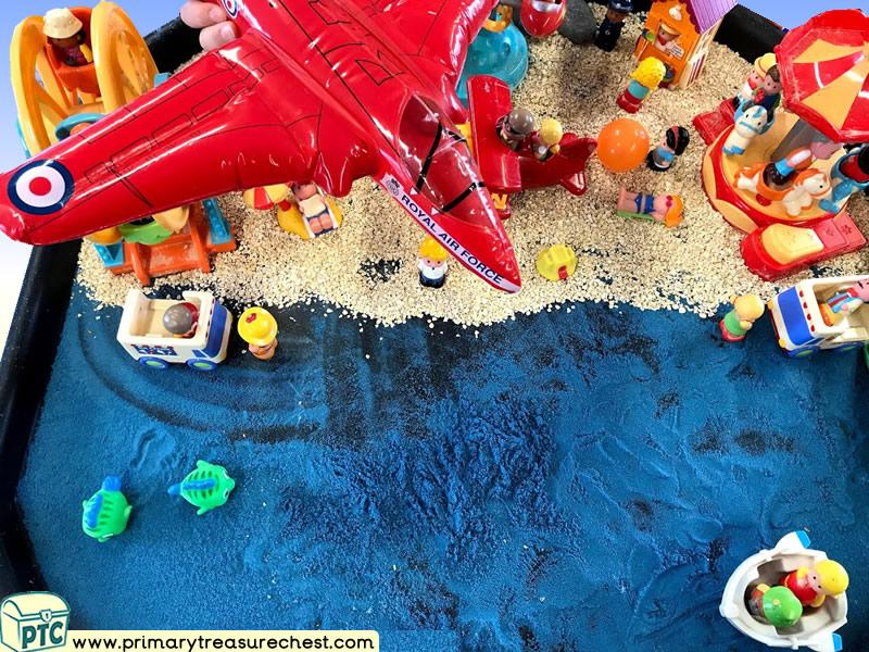 Seaside - Beach - Funfair - Air Show Themed Small World Multi-sensory - Coloured Sand Tuff Tray Ideas and Activities
