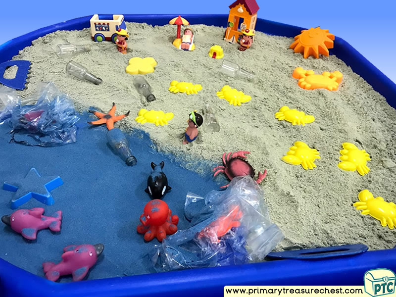 Our World - Plastic Pollution Themed Small World Multi-sensory - Coloured Sand Tuff Tray Ideas and Activities