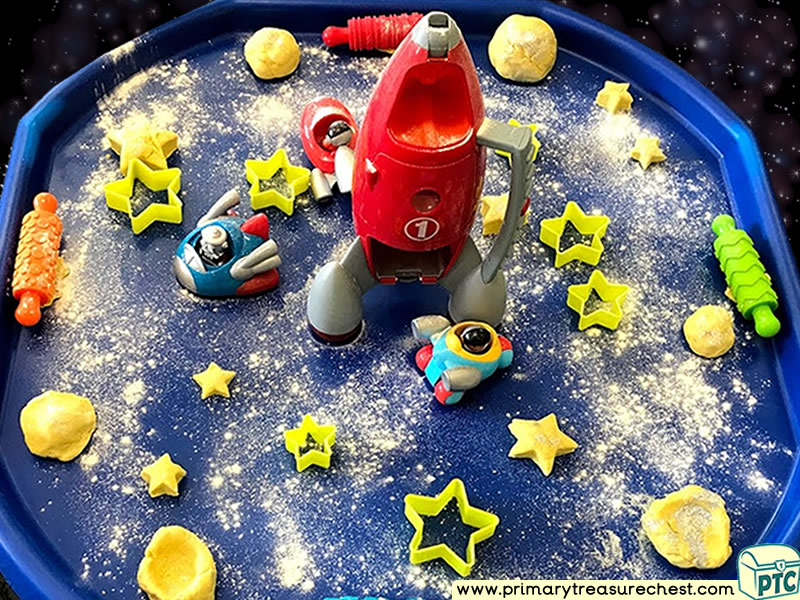 Space - Alien - Rocket - Stars - Astronaut Themed Playdough Multi-sensory Tuff Tray Ideas and Activities