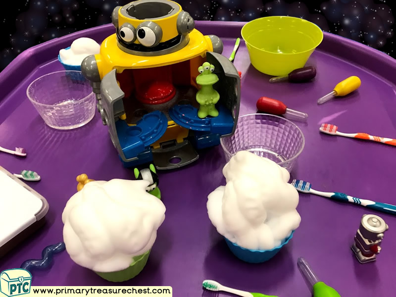 Space - Robot - Alien Themed Discovery Multi-sensory Mouldable Soap Tuff Tray Ideas and Activities