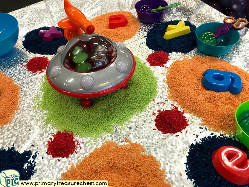 Space - Astronauts - Spaceship - Flying Saucer - Alien Themed Phonics - Letter Sound Multi-sensory Colour Rice Tuff Tray Ideas and Activities