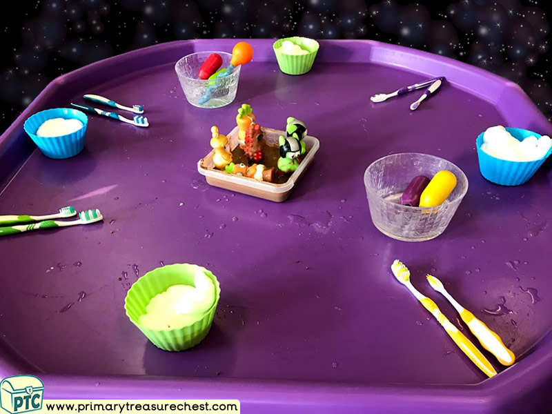 Space - Alien Themed Discovery Multi-sensory Mouldable Soap Tuff Tray Ideas and Activities