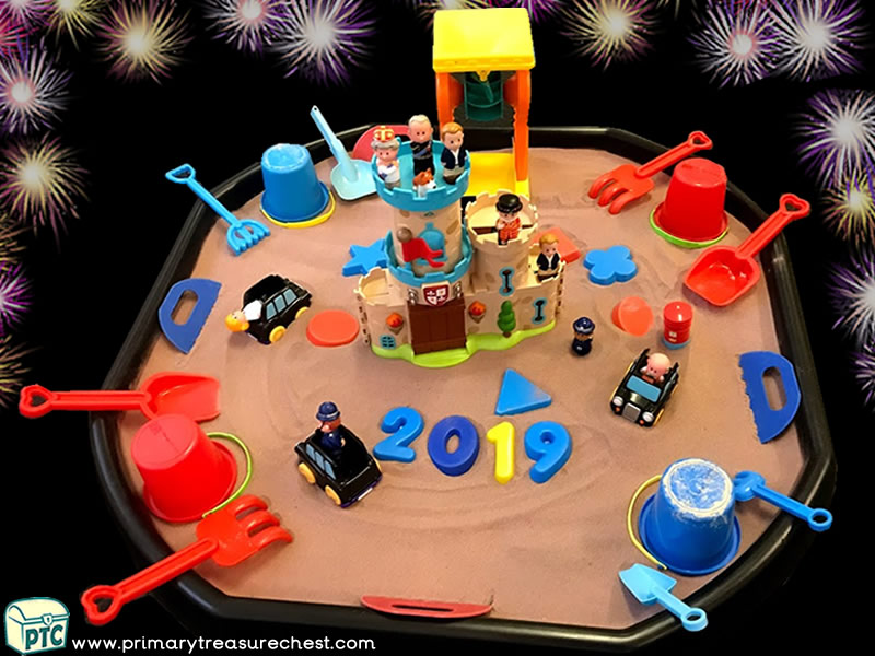 New Year - London - New Years Eve - Celebrations Themed Small World - Multi-sensory Coloured Sand Tuff Tray Ideas and Activities