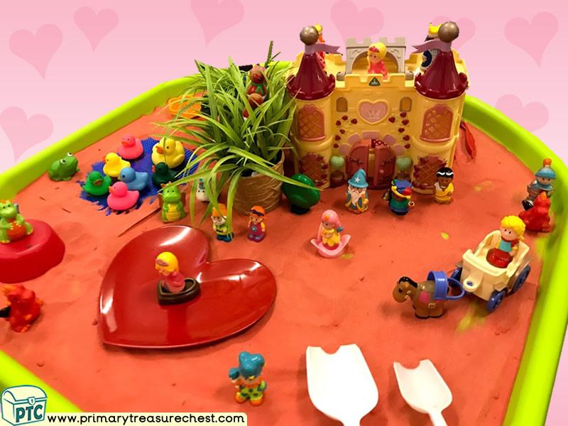 Valentine's Day - Dydd Santes Dwynwen - Heart Themed Small World Multi-sensory - Sand Tuff Tray Ideas and Activities