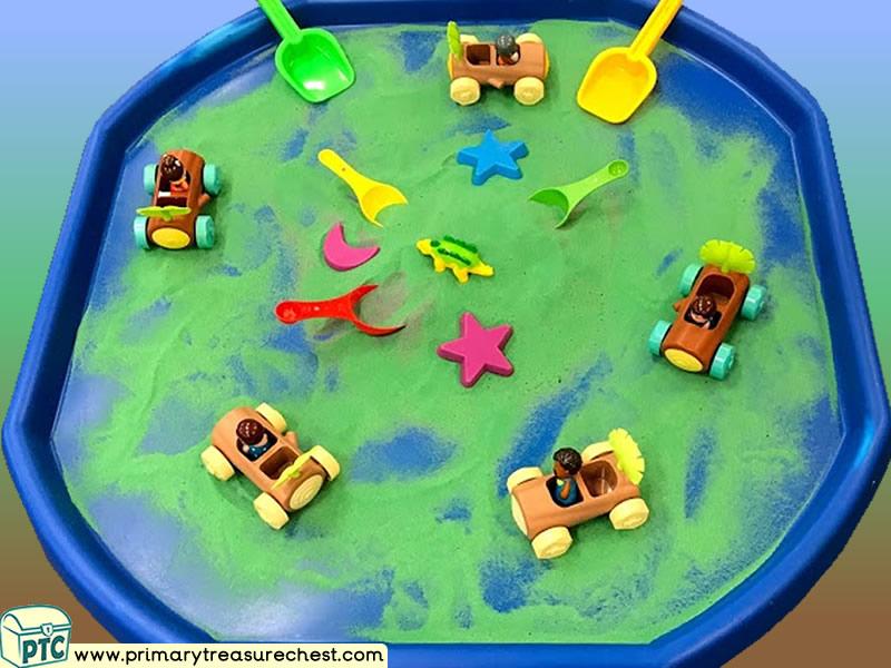 Dinosaurs - Cavemen Themed Small World Multi-sensory - Coloured Sand Tuff Tray Ideas and Activities