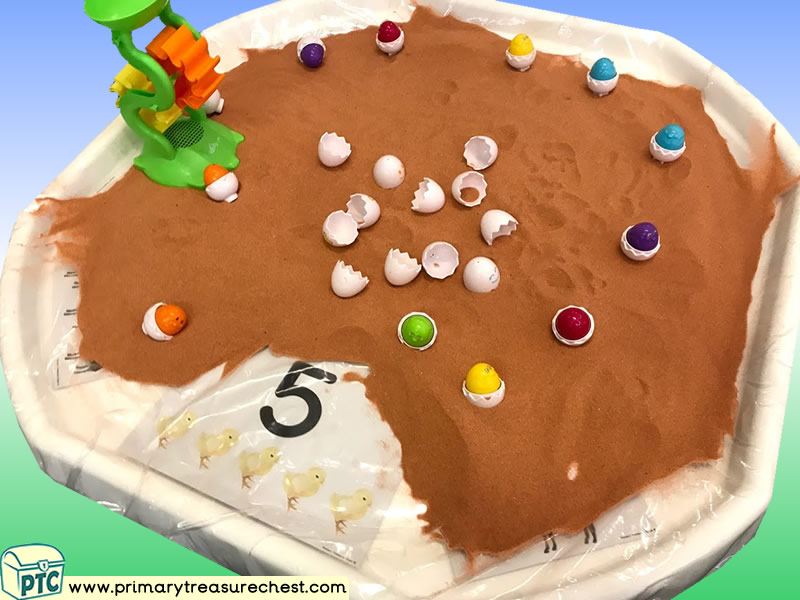 Easter - Chicks Themed Numbers - Multi-sensory Sand Tuff Tray Ideas and Activities