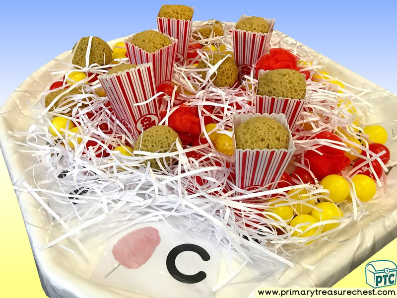 Fairground - Funfair - Seaside - Candyfloss - Popcorn Themed Phonics -  Letter Sound Multi-sensory - Shredded Paper Tuff Tray Ideas and Activities