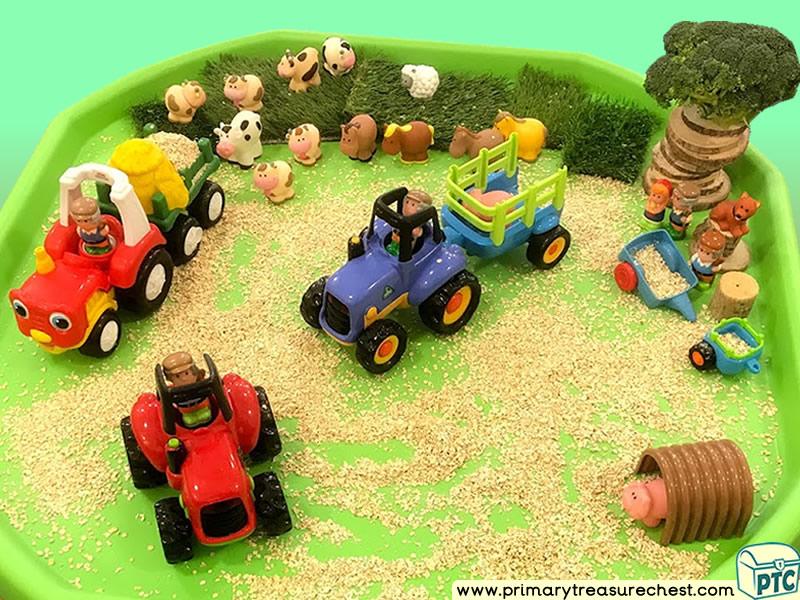 Farm Animals - Tractors - Farm Themed Small World Multi-sensory Cereal Tuff Tray Ideas and Activities