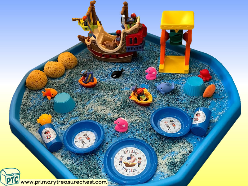 Pirates - Pirate Ship Themed Small World Multi-sensory - Coloured Rice Tray Ideas and Activities