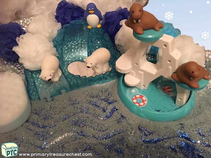 Winter – Polar Animals Themed Coloured Sand Multi-sensory Tuff Tray Ideas and Activities