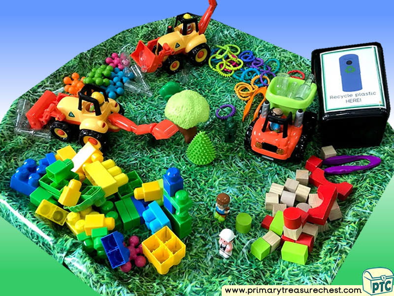 Our World - Recycle Themed Small World Multi-sensory - Construction Tuff Tray Ideas and Activities