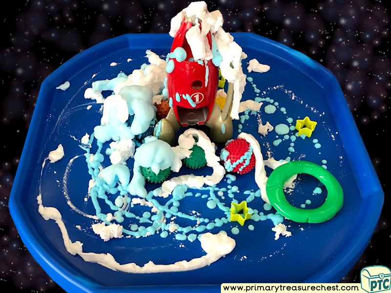 Space - Rocket - Astronauts - Alien Themed Discovery Multi-sensory Mouldable Soap Tuff Tray Ideas and Activities