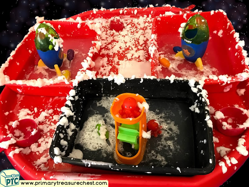 Space - Rocket - Mars - Planet - Alien Themed Water Multi-sensory Mouldable Soap Tuff Tray Ideas and Activities