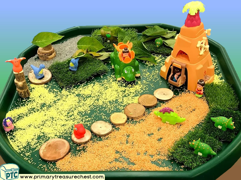 Dinosaurs - Cave - Caveman Themed Small World Multi-sensory - Coloured Rice Tuff Tray Ideas and Activities