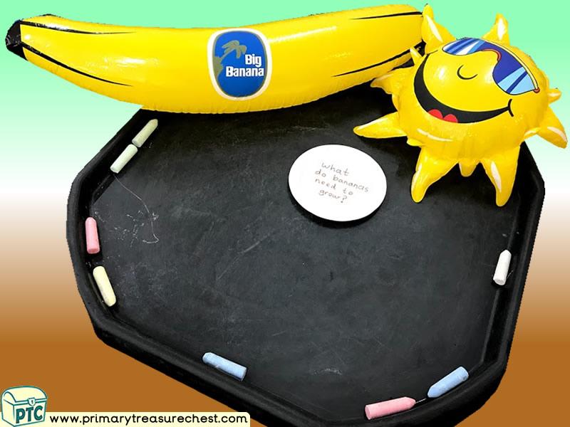 Food - Banana Themed Mark Making Pre-Writing Patterns Letter Formation Multi-sensory Jumbo Chalks Tuff Tray Ideas and Activities