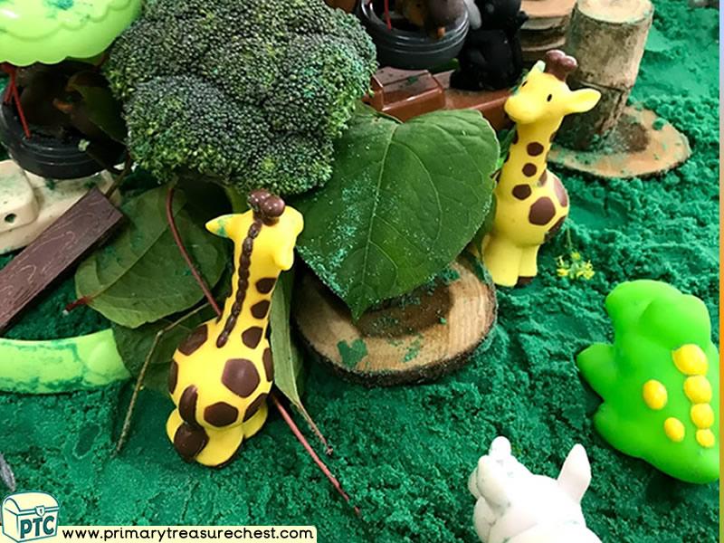 Safari - Jungle Animal Themed Small World Multi-sensory - Coloured Sand Tuff Tray Ideas and Activities