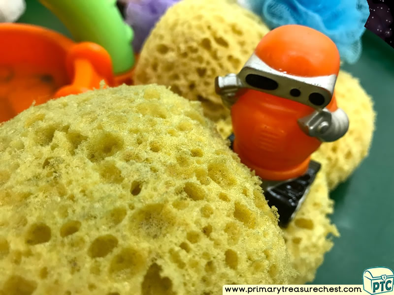 Space - Alien - Robot Themed Small World Multi-sensory Sponges Tuff Tray Ideas and Activities