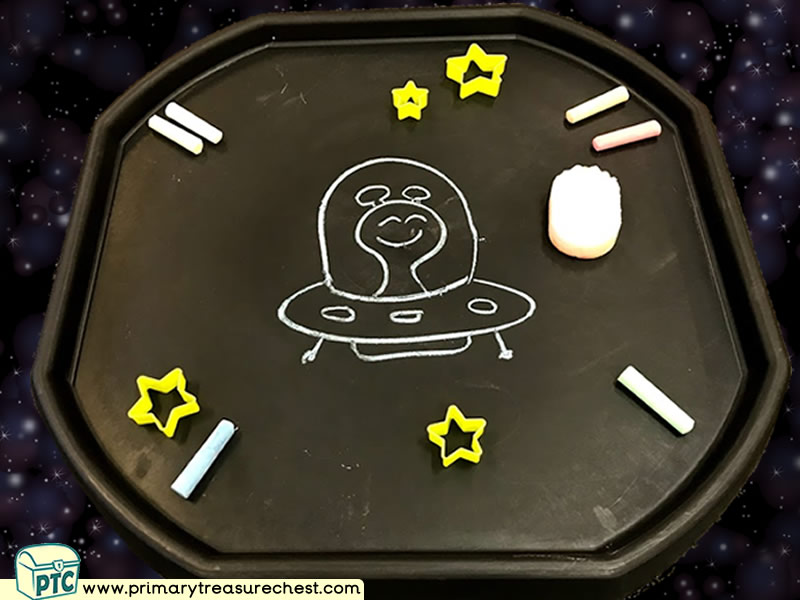 Space - Flying Saucer - Planet - Alien Themed Mark Making  Letter Formation Multi-sensory Jumbo Chalks Tuff Tray Ideas and Activities