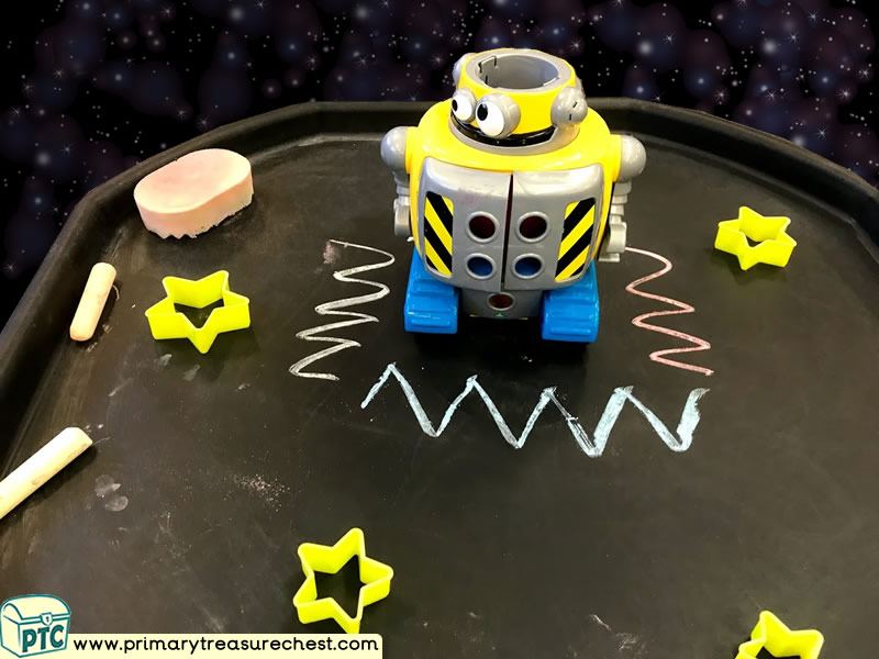 Space - Planets - Stars - Alien - Robot Mark Making Pre-Writing Patterns Letter Formation Multi-sensory Jumbo Chalks Tuff Tray Ideas and Activities
