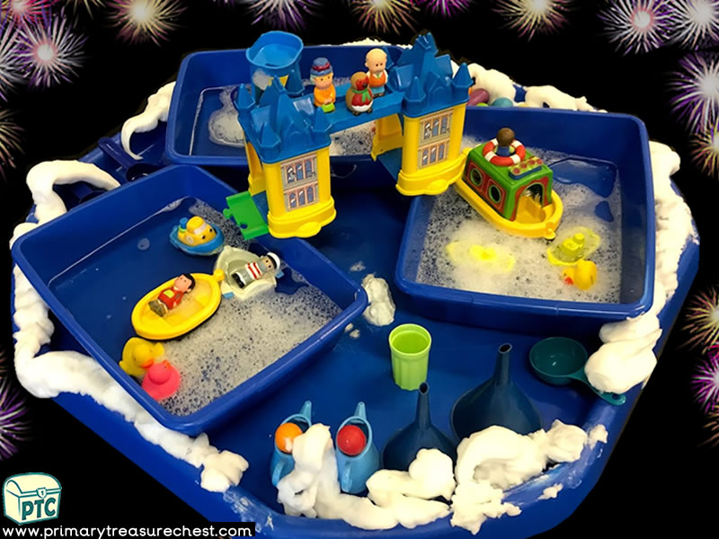 New Year - London - New Years Eve - Celebrations Themed Small World - Water Play - Multi-sensory Mouldable Soap and Water Tuff Tray Ideas and Activiti