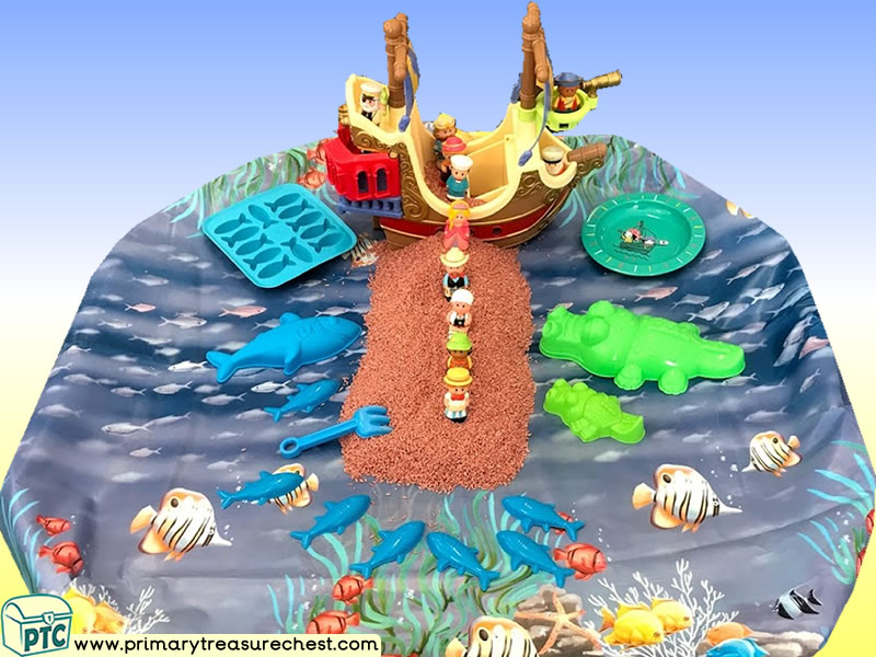 Pirates - Pirate Ship - Walk the Plank Themed Small World Multi-sensory - Rice Tray Ideas and Activities