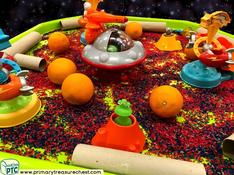 Space - Spaceship - Astronauts - Alien Themed Small World Multi-sensory Coloured Rice Tuff Tray Ideas and Activities