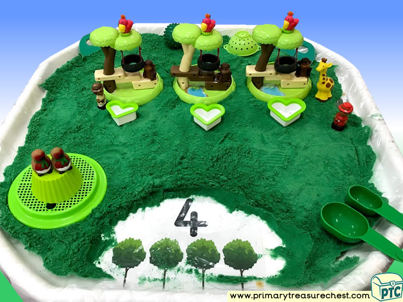 Our World - Arbor Day -  Tree Themed Small world - Numbers Multi-sensory - Coloured Sand Tuff Tray Ideas and Activities