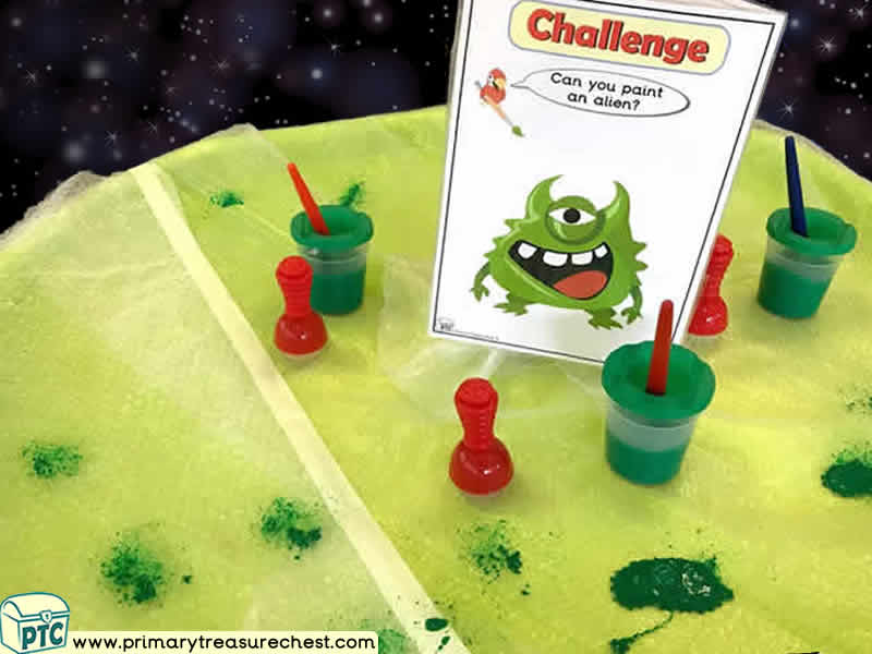 Space - Alien Themed Mark Making Pre-Writing Patterns Letter Formation Multi-sensory Poster Paints Tuff Tray Ideas and Activities