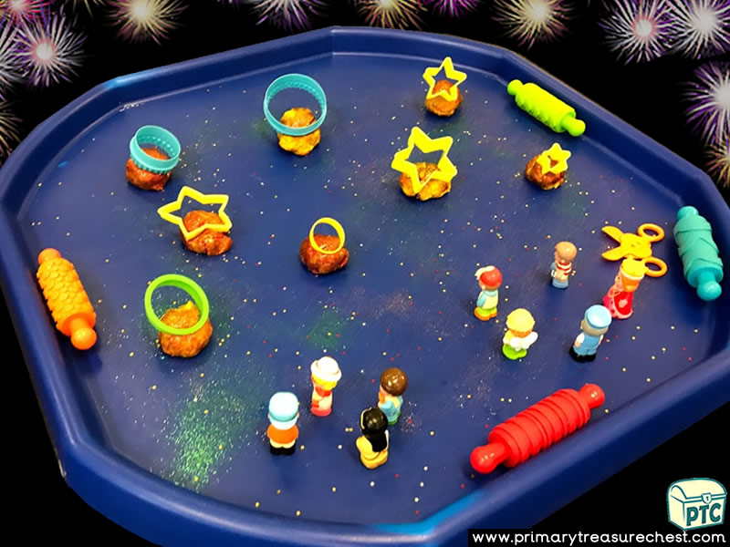 New Year - New Years Eve - Celebrations Themed Small World - Multi-sensory Playdough Tuff Tray Ideas and Activities