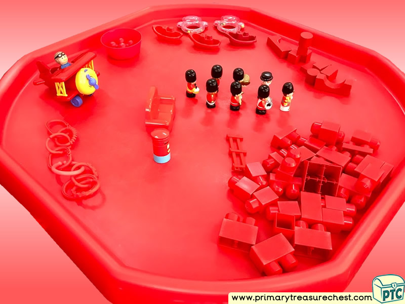 Colour Red - Colour Recognition Themed Construction Multi-sensory Small World Tuff Tray Ideas and Activities