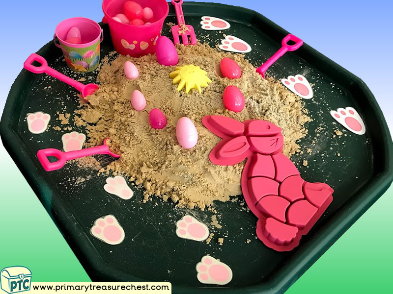 Easter - Easter Bunny - Eggs - Rabbit Themed Sand Multi-sensory Tuff Tray Ideas and Activities