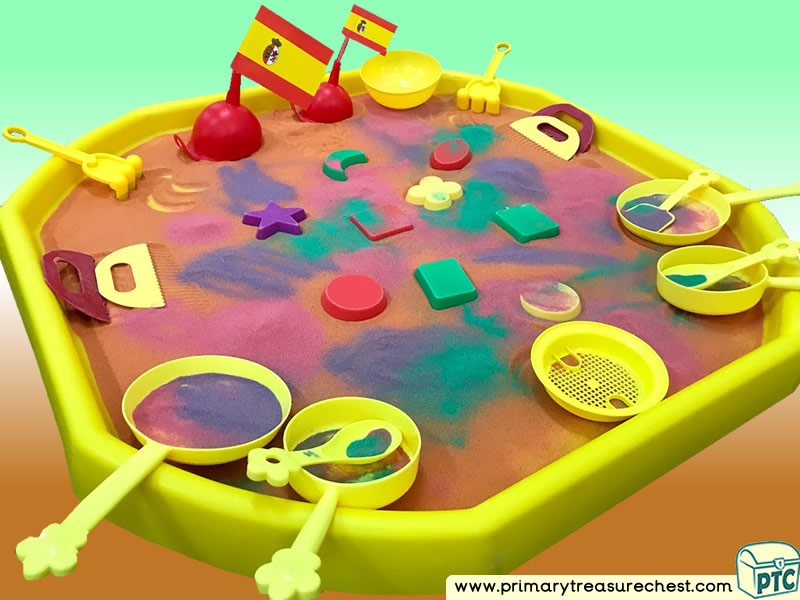 Food - Spanish Food - Spanish Flag Themed Multi-sensory Sand Tuff Tray Ideas and Activities