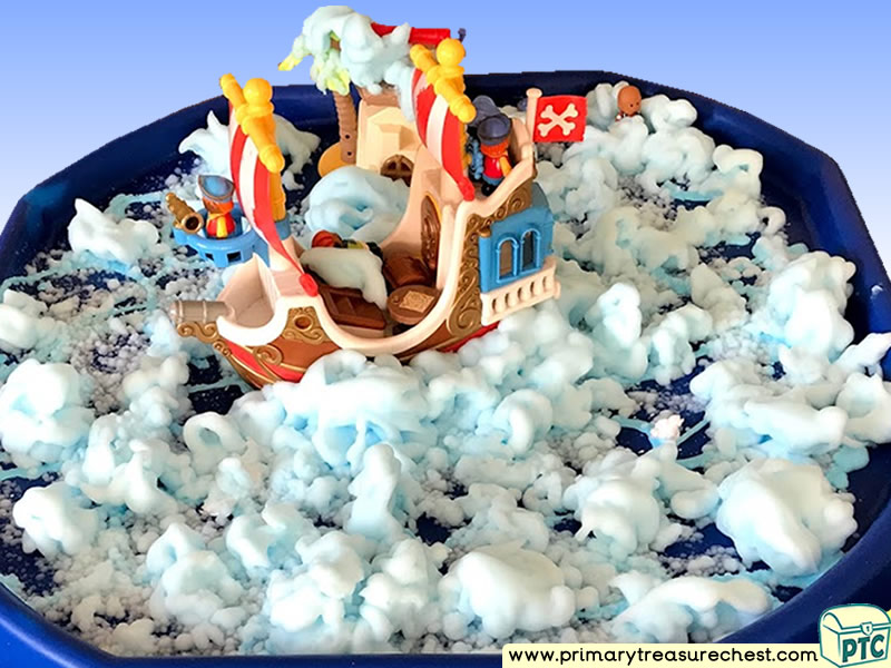 Pirates - Pirate Ship Themed Discovery - Small World Multi-sensory - Mouldable Soap Tuff Tray Ideas and Activities