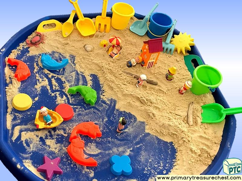 Sea life - Under the Sea - Beach - Seaside Themed Small World - Multi-sensory - Sand Tuff Tray Ideas and Activities